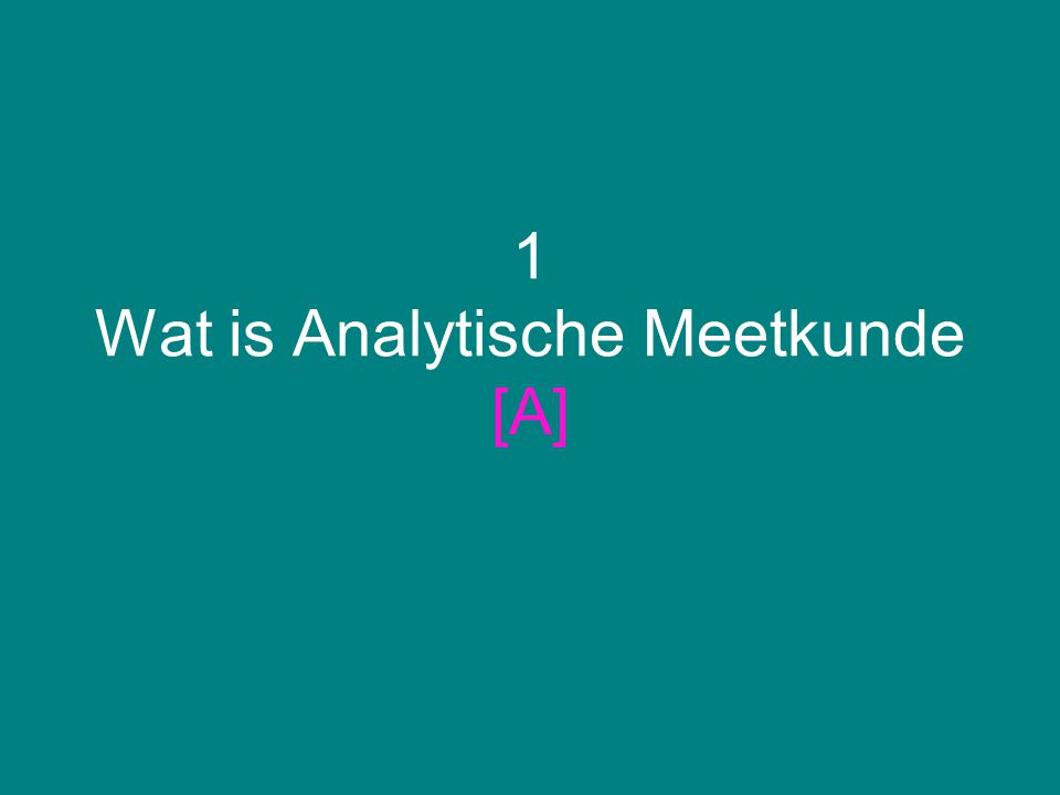 1 Wat is Analytische Meetkunde [A]